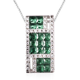 Lustro Stella - Simulated Emerald and Simulated Diamond Pendant with Chain (Size 18) in Platinum Ove
