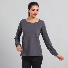 """100% Cotton single jercy loungwear Long Sleeve T- Shirt Color:Gray Size:S 61Lx91W CM"""