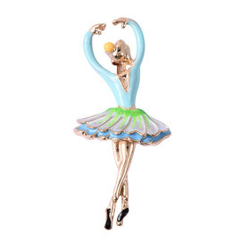 Ballerina Enamelled Brooch in Gold Tone
