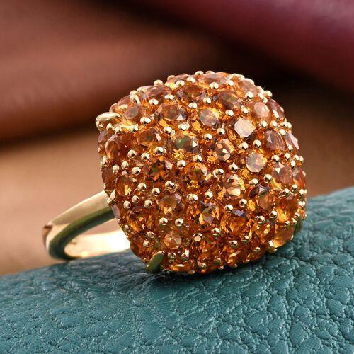 Citrine (Rnd) Cluster Ring in 14K Gold Overlay Sterling Silver 3.000 Ct.