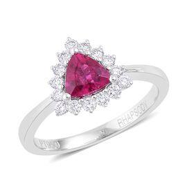 RHAPSODY AAAA Ouro Fino Rubelite and Diamond (VVS -VS/E-F) Halo Ring in 950 Platinum 0.920 Ct.