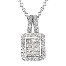Diamond (Rnd) Pendant With Chain (Size 18) in Platinum Overlay Sterling Silver 0.330 Ct.
