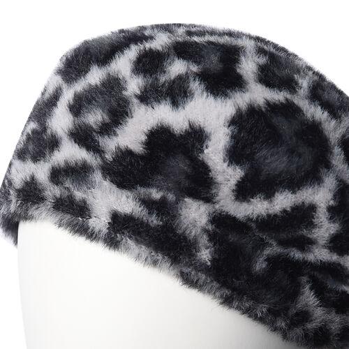 Super Soft Chic Leopard Beret - Grey