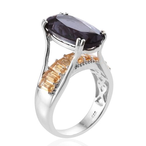 Alexandria Quartz (Ovl 9.60 Ct), Citrine Ring in Platinum Overlay Sterling Silver 11.500 Ct. Silver wt. 6.19 Gms.
