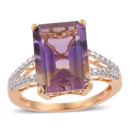 Limited Edition - Anahi Ametrine (Oct) Solitaire Ring in 14K Gold Overlay Sterling Silver 6.750 Ct.