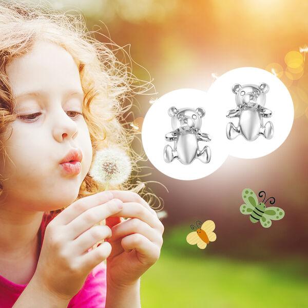 Kids Teddy Bear Earrings in Sterling Silver