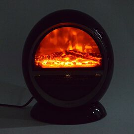 1.5KW Portable PTC Fireplace Design Electric Heater with 3 Pin Plug (Size 25x36 Cm) - Black