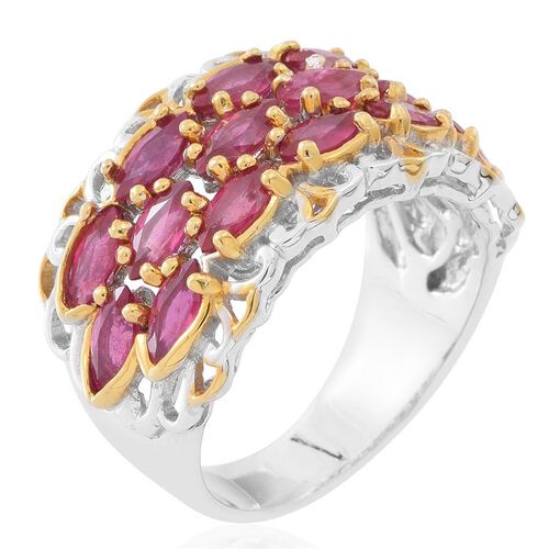 African Ruby (Mrq) Ring in Rhodium and Yellow Gold Overlay Sterling Silver 6.500 Ct.