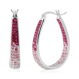 Simulated Pink Sapphire Austrian Crystal Hoop Earrings (with Clasp) in Silver Plated