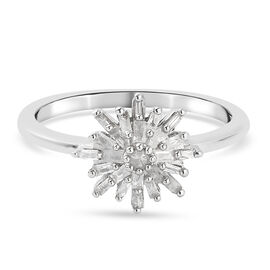 Diamond Cluster Ring in Platinum Overlay Sterling Silver 0.23 Ct.