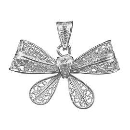 Royal Bali Open Work Bow Tie Pendant in Silver
