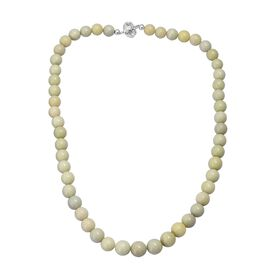 235 Ct Lemon Lime Serpentine Beaded Necklace in Sterling Silver 18 Inch