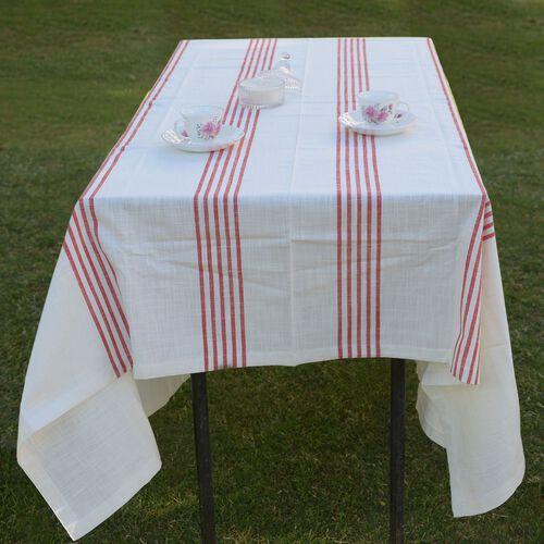 100% Cotton Rust Red Colour Stripe Pattern White Colour Table Cover (Size 260x180 Cm)