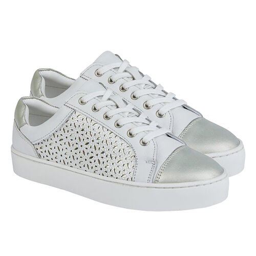 Lotus Leather Cologne Lace-Up Trainers (Size 3) - White