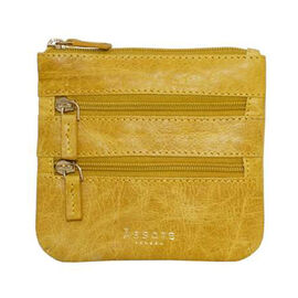 Assots London LAURA Soft Small Zip Top Leather Coin Purse (Size 11x10cm) - Yellow