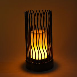 Portable Flameless Simulation White Candle with Wavy Design Stand - Black (3xAA Battery not Included