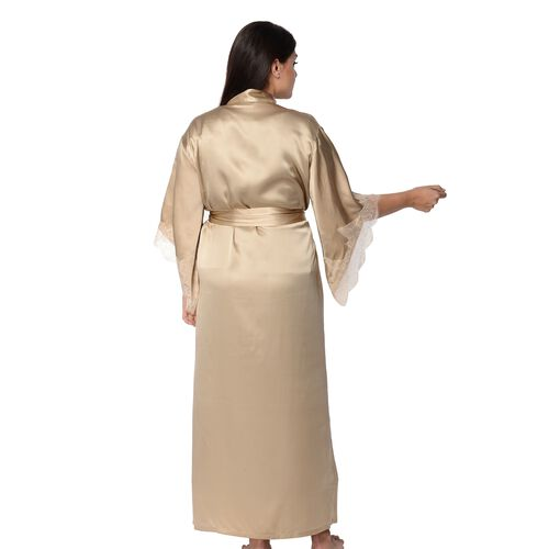Super Auction- 100% Mulberry Silk Long Robe with Kimono Style Sleeves with Lace  in Gift Box (Size S-M / 10-12) - Gold