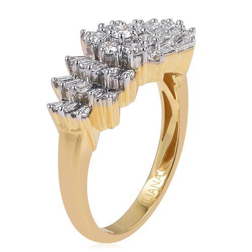 ILIANA 18K Yellow Gold IGI Certified Diamond (Rnd) (SI/G-H) Ballerina Ring 1.000 Ct.