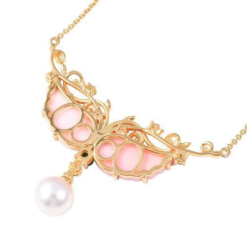 Jardin Collection - Pink Mother of Pearl, Freshwater Pearl and Russian Diopside Necklace (Size 18) in Gold Overlay Sterling Silver, Silver wt 7.78 Gms.