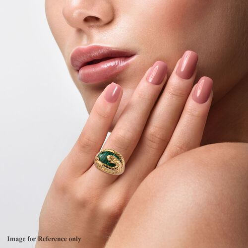 Sundays Child - Malachite and Boi Ploi Black Spinel Snake Ring in 14K Yellow Gold Overlay Sterling Silver 11.00 Ct, Silver wt. 7.40 Gms