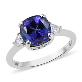 RHAPSODY 950 Platinum AAAA Tanzanite (Cush 8x8 Cm), Diamond (VS/E-F) Ring 2.75 Ct.