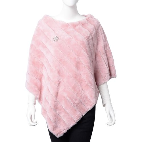 Pink Colour Faux Fur Poncho and Brooch (Size 95x78 Cm)