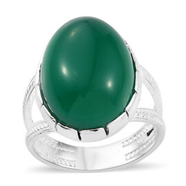 One Time Deal- Rare Size Verde Onyx (Ovl 18X13 mm) Ring in Sterling Silver 12.400 Ct.