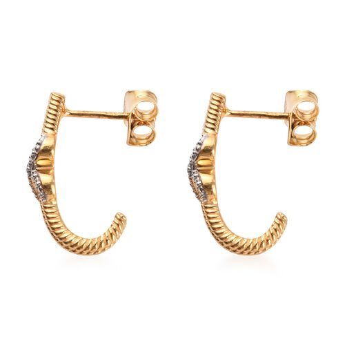Diamond Infinity Hoop Earrings (with Push Back) in Platinum and Yellow Gold Overlay Sterling Silver