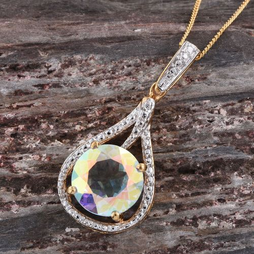 Mercury Mystic Topaz (Rnd) Solitaire Pendant with Chain in 14K Gold Overlay Sterling Silver 4.000 Ct.