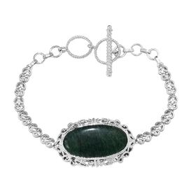 19.50 Ct Green Aventurine Bracelet in Platinum Plated 7.5 and 8 Inch