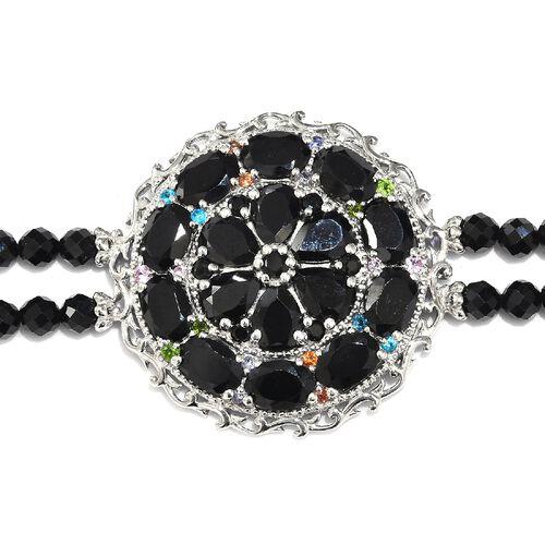 Boi Ploi Black Spinel and Multi Gemstone Bracelet (Size 7.5) in Platinum Overlay Sterling Silver 38.75 Ct, Silver wt 12.00 Gms