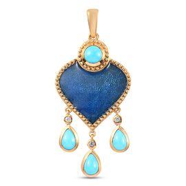 Arizona Sleeping Beauty Turquoise and Natural Cambodian Zircon Enamelled Pendant in 14K Gold Overlay