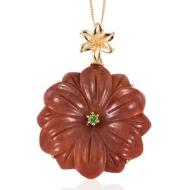 Carved Red Jade, Russian Diopside Flower Pendant with Chain (Size 18) in Vermeil Yellow Gold Overlay