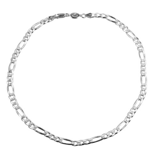 Vicenza Collection Sterling Silver Figaro Necklace (Size 20), Silver wt 30.30 Gms.