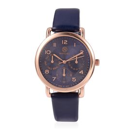STRADA Japanese Movement Three Eye Chronograph Look Water Resistant Watch with Navy Blue Strap