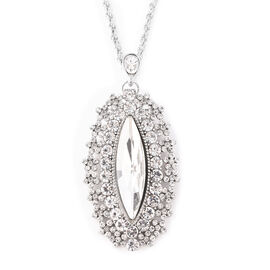Simulated Diamond (Mrq), White Austrian Crystal Marquise Pendant with Chain (Size 28 with 3 inch Ext