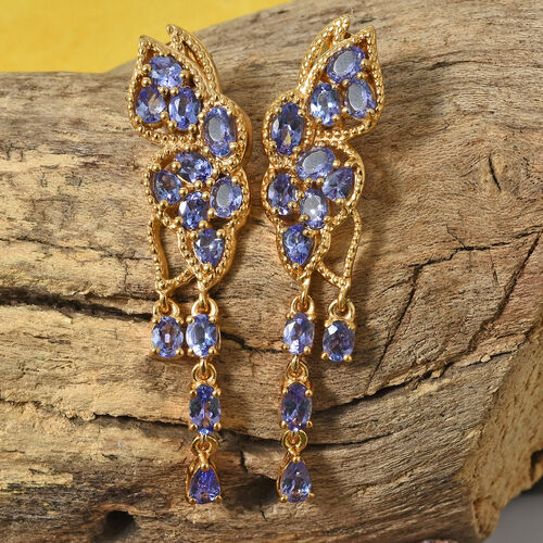 Designer Inspired -  AA Tanzanite (Ovl) Lusture Drop Earrings with Push Back in 14K Gold Overlay Sterling Silver 4.750 Ct., Silver wt 7.00 Gms.