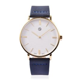 STRADA Japanese Movement Water Resistance Watch in Gold Plating - Navy Blue