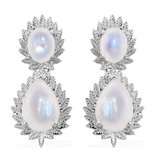 Designer Inspired-Sri Lankan Rainbow Moonstone (Pear) Tear Drop Earrings (with Push Back) in Platinu