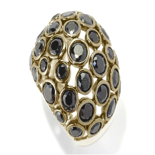 Boi Ploi Black Spinel (Rnd) Ring in 14K Gold Overlay Sterling Silver 7.540 Ct.
