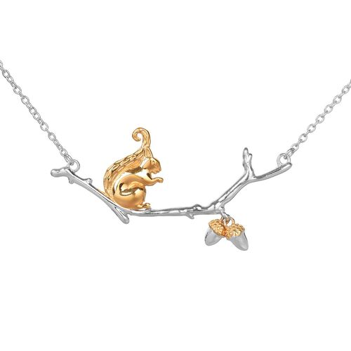 Squirrel with Acorn Nut Necklace (Size 18) in Platinum and Gold Overlay Sterling Silver, Silver wt 6