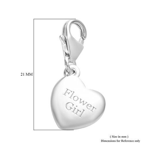 Platinum Overlay Sterling Silver Flower Girl Heart Charm