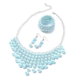 3 Piece Set - Simulated Blue Pearl (Rnd) BIB Necklace, Hook Earrings and Bracelet in Silver Bond.