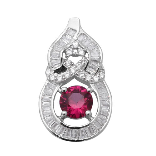 ELANZA Simulated Garnet and Simulated Diamond Pendant in Rhodium Plated Sterling Silver