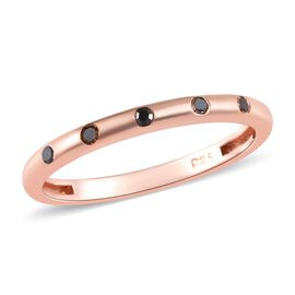 Black Diamond (Rnd) Stacker Band Ring in Rose Gold Overlay Sterling Silver
