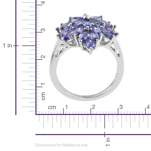 Tanzanite (Mrq) Cluster Ring in Platinum Overlay Sterling Silver 3.750 Ct.