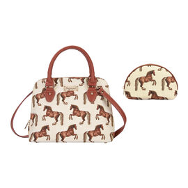 Signare Tapestry - 2 Piece Set Whistlejacket Design Convertible Handbag with Free Matching Cosmetic