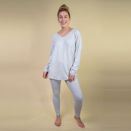 TAMSY Womens Loose Fit V Neck Top (Size - 10) - Light Grey