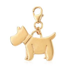 14K Gold Overlay Sterling Silver Scottish Terrier Dog Charm, Silver wt 3.42 Gms.