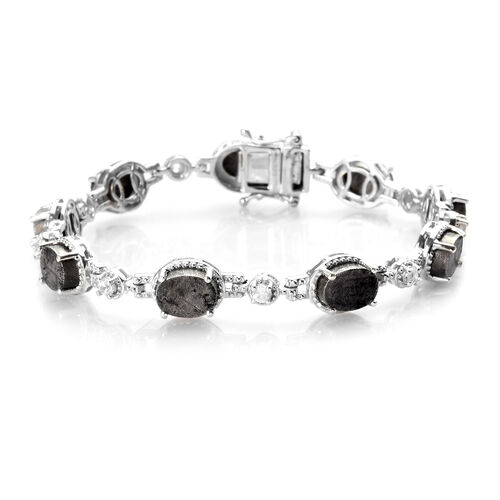 Meteorite and Natural Cambodian Zircon Bracelet (Size 7) in Platinum Overlay Sterling Silver 32.90 C